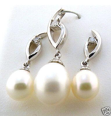 AAA 6-8MM FW White Pearl & Diamond Earrings & Pendant Set, 14K White Gold, NEW  Fw White Pearl Pendant