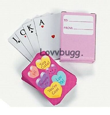 "Lovvbugg Valentine Hearts Cards Mini Deck for 18"" American Girl Doll Accessory"
