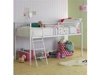 White metal mid bed frame