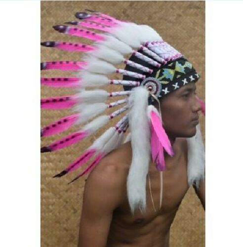 Warbonnet Swan Indian Headdress Small White Fur Pink Native American Hat Gift