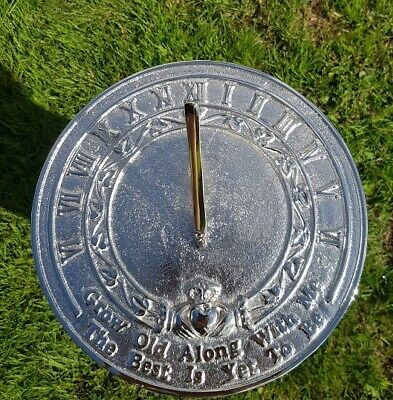 Grow Old Along With Me Sundial Chrome Plated