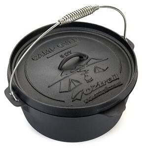 OZTRAIL 9 QUART CAMP OVEN Cast Iron Pot Pan Cookware