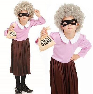 Mädchen Gangsta Oma Maskenkostüm Gangster Einbrecher büchertag Outfit NEU