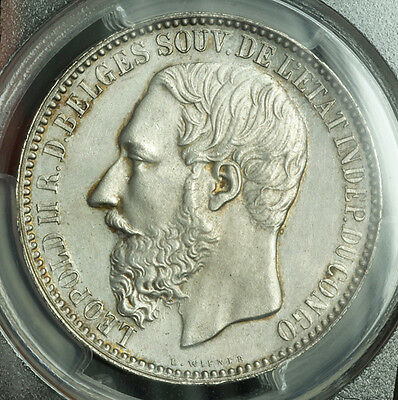 Click now to see the BUY IT NOW Price! 1894 CONGO FREE STATE LEOPOLD II.  SILVER 5 FRANCS COIN. PCGS MS 63