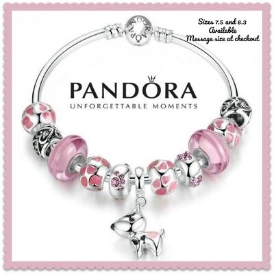 Authentic Pandora Charm Bracelet with 925 Sterling Silver Pink Dog Charm Dangle