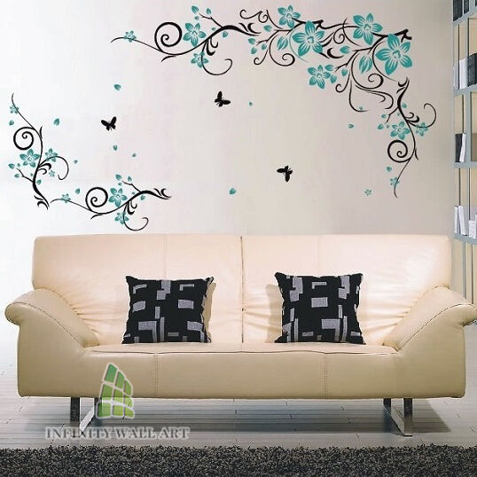 Wall Stickers Tree Flower Nursery Kids Wall Art Decals Butterfly Vinyl Decor543