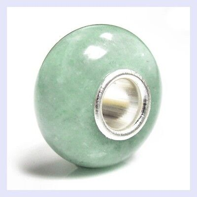 Sterling Silver Genuine Aventurine Stone Round Bead for European Charm Bracelet