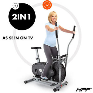 NEW HPF 2in1 Elliptical Cross Trainer & Exercise Bike Home Gym Equipment Fitness