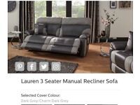 Lauren 3 seater manual recliner sofa
