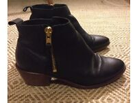 Office Imposter Leather Ankle Boots Size 6
