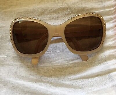 Authentic PRADA Rhine Stone Sunglasses Accessories Grey Beige SPR06F with box