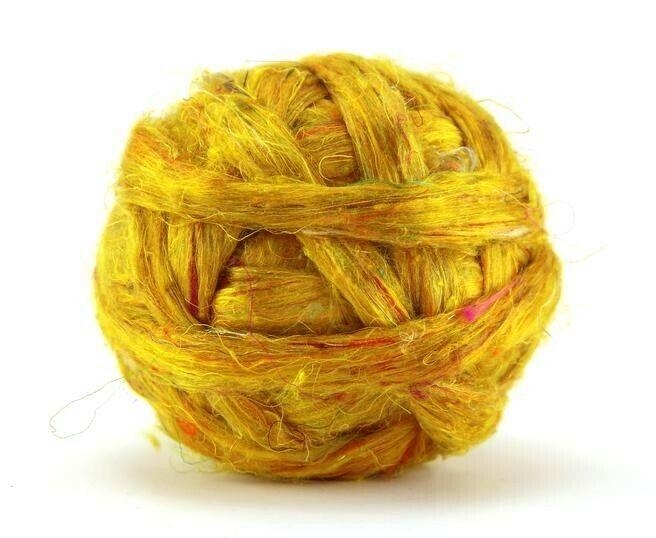 3.5oz Sari Silk Honeycomb Blend Top Roving Wool Felting Spinning Fiber 100g