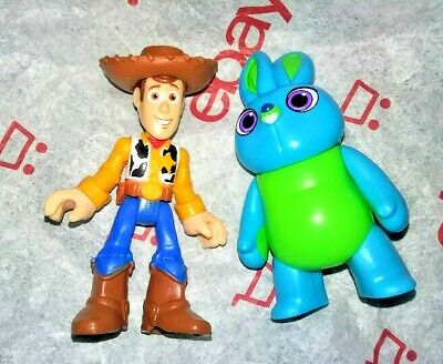IMAGINEXT COWBOY WOODY & BUNNY ☆ DISNEY TOY STORY 4 ☆ FISHER PRICE FIGURES