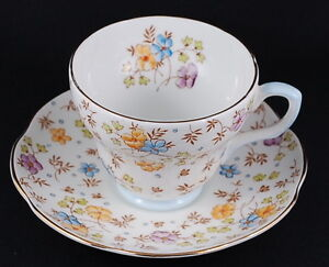 E.B Foley Vintage Hand-painted Floral Array Porcelain Teacup Set
