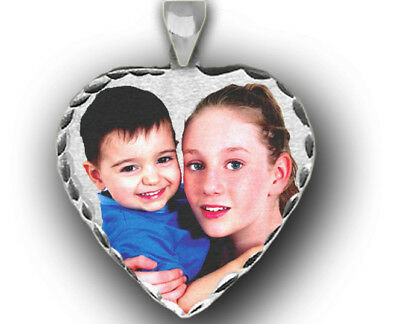 GOLD, SILVER PERSONALIZED GIFT PHOTO HEART CHARM PENDANT PICTURE. (Personalized Photo Charm)