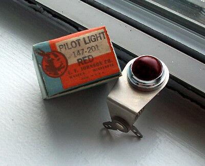 "Vintage RED dash gauge panel light Hot Rod  3/4"" rare dead stock JOHNSON Glass"