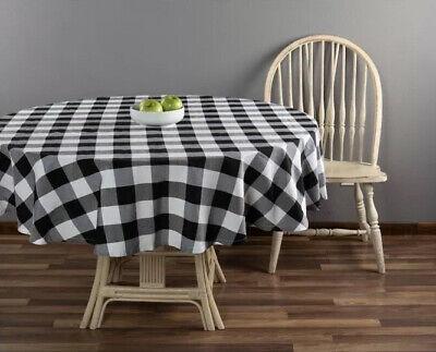 "70 Round Tablecloth (Classic Black White Buffalo Plaid Check Farmhouse Tablecloth 70"" Round)"