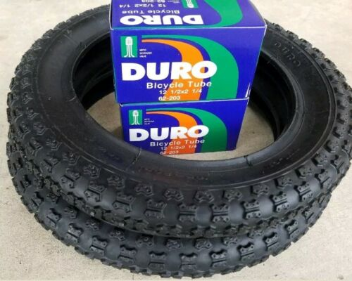 TWO DURO 12  1/2 X 2  1/4  BLACK KIDS BICYCLE TIRES 40 PSI &