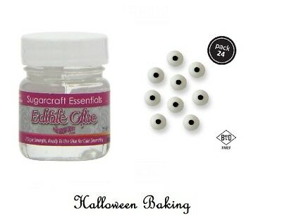 Edible Cake Decorations For Halloween (Edible Glue And PME Candy Eyes Ball Icing Toppers For Halloween Cake)