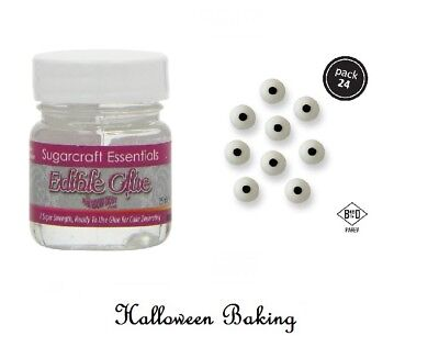 Edible Glue And PME Candy Eyes Ball Icing Toppers For Halloween Cake Decorations - Halloween Eye Cake Balls