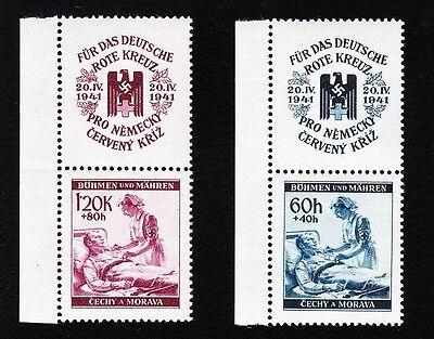 GERMANY BOHEMIA MORAVIA MICHEL 63-64 & VERTICAL EAGLE SWASTIKA PLATE FLAW MNH D