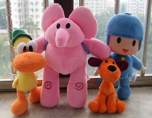 4pcs Bandai Pocoyo Elly Pato Loula Soft Plush Stuffed Figure Toy Doll One Set