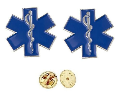 Star of Life Pin Silver Collar Brass Insignia Pair EMT EMS Rescue New Pair Medic