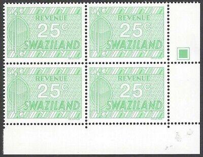 Swaziland 1970 DLR perf 14 25c MNH block Barefoot #144