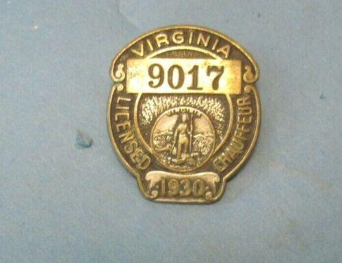1930 Virginia Chauffeur badge nice original with pin