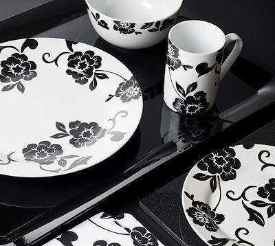 32 Piece VIVIENNE Black & White Porcelain DINNER SET By Creative Tops