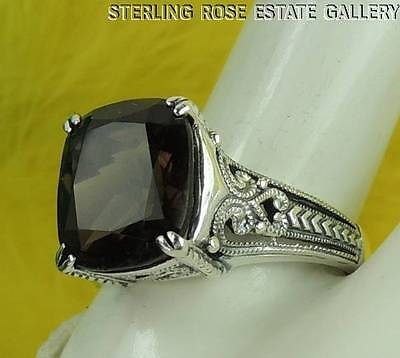 12 x 10mm SMOKEY QUARTZ Sterling Silver 925 Estate COCKTAIL ENGAGEMENT RING sz 9