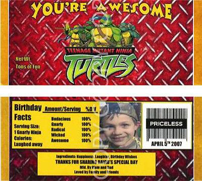 6 Teenage Mutant Ninja Turtles Candy Bar Wrappers Birthday Party Favors - Ninja Turtles Favors