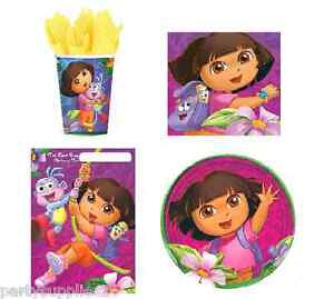 DORA THE EXPLORER PARTY SUPPLIES PACK40, 8 PLATES, 8CUPS, 16 NAPKINS, 8LOOT BAGS