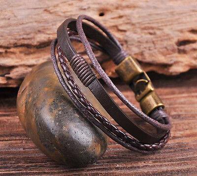 S532 Brown Cool Leather & Hemp Handcfaft Bracelet Wristband Men's Cuff Bronze