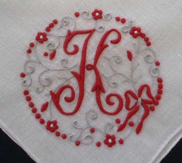 Vintage Madeira Wedding Hanky Monogram K Red Bows Swirls  Embroidery