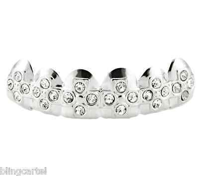 Iced Bling Hip Hop Grillz (Cross Grillz Platinum Silver Tone Iced Crosses Hip Hop Teeth Top Bling Grill)