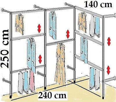 Kleiderständer Wandregal Kleiderkammer Textilregal Ankleidezimmer Garderobe W.04
