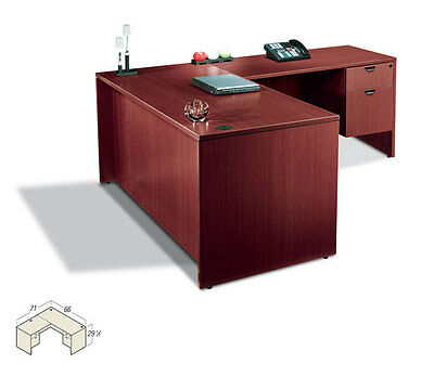 Contemporary Executive Laminate L Shape Office Desk With Size Pedestal Upgrade
