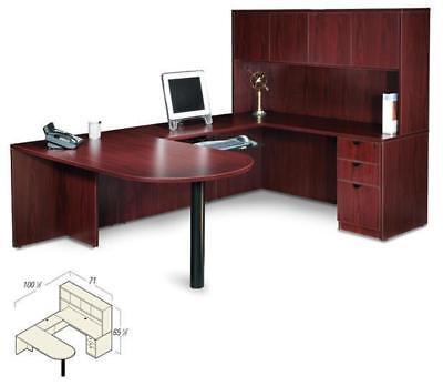 "American Mahogany Laminate U-Shape Desk + 2 Matching 71""H Bookcases for sale  USA"