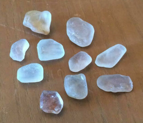Topaz Faceting Rough White - Ice Blue  Untreated  9 Stones  24.4 grams 122 cts