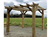 new wooden pergola hot tub shelter 2.4m x 2.4m