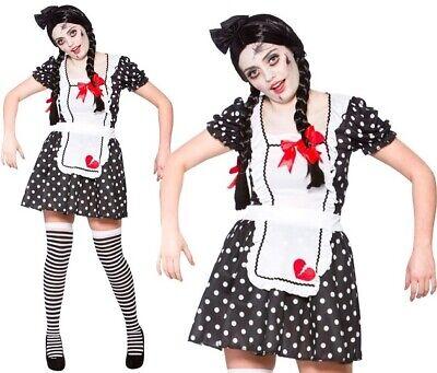 Damen Halloween Kostüm Broken Puppe Kostüm Scary Puppe Outfit Neu - Scary Kostüm Puppen
