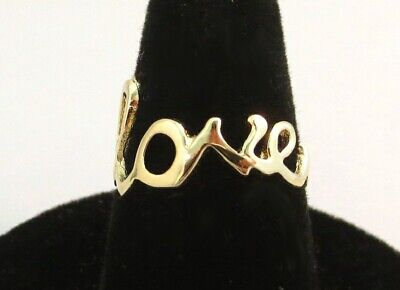 Gold Love Ring - 14KT GOLD EP SCRIPT LOVE WORD RING SIZE 10