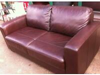 Brown hide square arm 2 seater sofa as new lenth 157 hight 82 debth 88