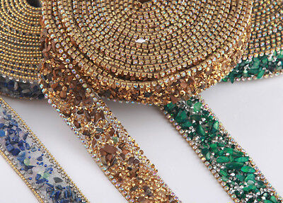 Faux Crystal Diamond Rhinestone Trim Ribbon Strap Fringe Edging Mesh Sew DIY New Diamond Trim