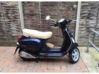 VESPA LX125 Piaggio Scooter *Lady Rider* *MOT until 2018* Midnight Blue, Tan Saddle, 2 Keys, Lock