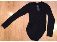 NEW Black Wrap Front Long Sleeved Bodysuit Size S/M