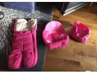 Pink stokke xplory Footmuff, Pram seat cover & Pram bag