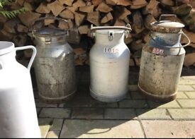 Genuine French vintage milk churns wedding