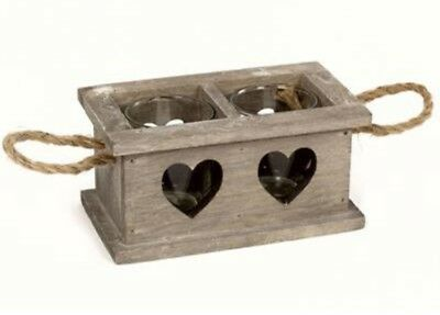 Double Heart Wooden Candle Holder with Glass Tea Light Holders & Rope - Double Glass Hearts Candle